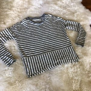 Grey and White stripped shirt - slit in sides